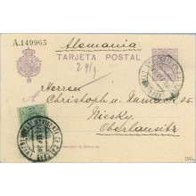1920. Medallón.15 c. violeta + 5 c. verde. Medallón (Ed. 268) S.Vicente de Caldero a Oberlansitz. Mat. V. de Caldero (Laiz 50Fa)
