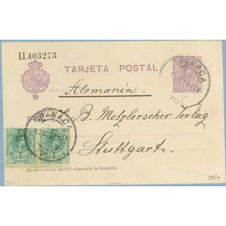 1923. Medallón.15 c. + 5 c. + 5 c. verde Medallón (Ed. 268). Granada a Stuttgart, Alemania. Mat. Granada (Laiz 50Fb) 72€
