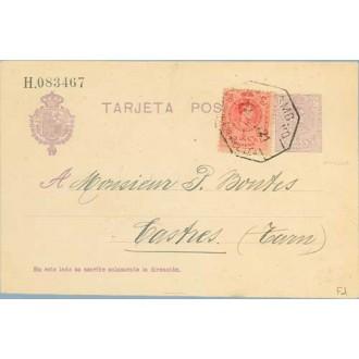 1922. Medallón.15 c. violeta + 10 c. rojo. (Ed.269) Málaga a Castres, Francia. Mat. Ambulante (Laiz 50Fe) 42€