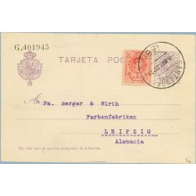 1922. Medallón.15 c. violeta + 10 c. rojo. (Ed.269) Santander a Leipzig, Alemania. Mat. Santander (Laiz 50Fe) 42€