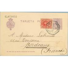 1922. Medallón.15 c. violeta + 10 c. rojo. (Ed.269) S. Sebastián a Burdeos. Mat. Ambulante (Laiz 50Fe) 42€