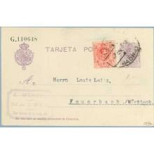 1922. Medallón.15 c. + 10 c. rojo. Medallón (Ed.269). Madrid a Feuerbach,Wuttemb. Mat. Madrid (Laiz 50Fe) 42€