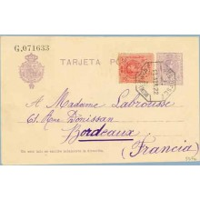 1922. Medallón.15 c. + 10 c. rojo. Medallón (Ed.269). S. Sebastián a Burdeos. Mat. Amb. Desc. (Laiz 50Fe) 42€