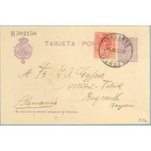 1922. Medallón.15 c. violeta + 10 c. rojo. Medallón (Ed. 269) Figueras a Alemania. Mat. Figueras (Laiz 50Fe) 42€