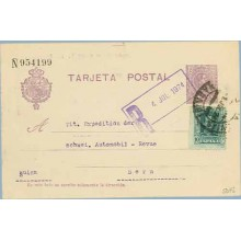 1924. Medallón.15 c. violeta + 10 c. verde. Vaquer (Ed. 314) Madrid a Bern, Suiza. Mat. Madrid marca R 4 Jul. 1924 en color viol