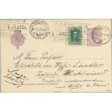 1923. Medallón.15 c. + 10 c. verde. Vaquer (Ed.314) Madrid a Zurich. Mat. Madrid (Laiz 50Fi) 24€