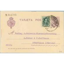 1924. Medallón.15 c. + 10 c. verde. Vaquer (Ed.314) Barcelona a Zurich. Mat. Barcelona (Laiz 50Fi) 24€