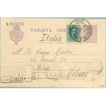 1924. Medallón.15 c. + 10 c. verde. Vaquer (Ed.314). Badalona a Milano. Mat. Barcelona y llegada, marca Votate la lista Nazional