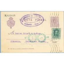 1923. Medallón. 15 c. violeta + 10 c. verde. Vaquer (Ed. 314) Alicante a Schwabisch, Alemania. Mat. Alicante (Laiz 50Fi) 24€