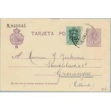 1924. Medallón. 15 c. violeta + 10 c. verde. Vaquer (Ed. 314) Valencia a Groningue, Holanda. Mat. Valencia (Laiz 50Fi) 24€