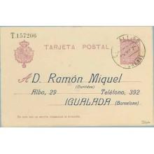 1925. Medallón. 15 c. violeta sobre crema. Sobreimpresión Privada. D. Ramón Miguel. (Curtidos) Alba, 29. Igualada (Barcelona). I