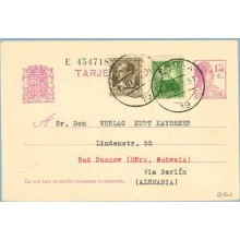 1935. Matrona. 15 c. lila + 5 c. castaño. B. Ibañez (Ed. 681) + 10 c. verde. M. Pineda. (Ed. 682). Gerona a Bad Buckow. Mat. Ger