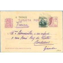 1935. Matrona. 15 c. lila + 15 c. verde. C. Arenal (Ed. 683) S. Sebastián a Bordeaux. Mat. S. Sebastián (Laiz 69Faf) 24€