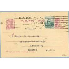 1935. Matrona. 15 c. lila + 15 c. verde. C. Arenal (Ed. 683). Barcelona a Berlín. Mat. Barcelona (Laiz 69Faf) 24€