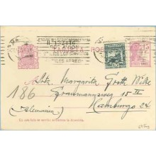 1935. Matrona.15 c. lila + 15 c. verde. L. de Vega (Ed. 690) Madrid a Hamburg. Mat. Madrid (Laiz 69Fag) 24€