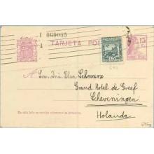 1935. Matrona.15 c. lila + 15 c. verde. L. de Vega (Ed. 690) Barcelona a Holanda (Laiz 69Fag) 24€
