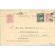1935. Matrona.15 c. lila + 15 c. verde. C. Arenal (Ed. 683). Barcelona a Frankfurt. Mat. Barcelona (Laiz 69Fag) 90€