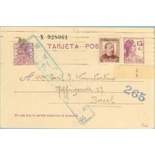 1938. Matrona. 15 c. lila + 25 c. lila rosa. Zorrilla (Ed. 685) Barcelona a Basel, marca de Censura, R. Española y 265 (Laiz 69F