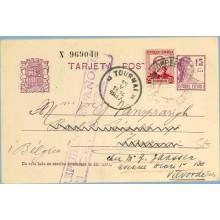 1937. Matrona.15 c. lila + 25 c. lila. Zorrilla (Ed. 685) Cornellá a Belgica. Mat. Cornellá y llegada, marca R. Española Censura