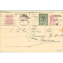 1932. Matrona.15 c. lila + 5 c. verde. Escudo. serie 1ª (Barcelona Ed. 9) Barcelona a Manresa. Mat. Barcelona (Laiz 69FBa) 44€