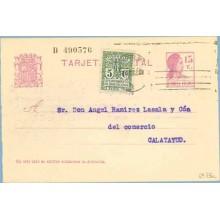 1932. Matrona.15 c. lila + 5 c. verde. Escudo, serie 1ª (Barcelona Ed. 9) Barcelona a Calatayud. Mat. Barcelona (Laiz 69FBa) 44€