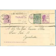 1935. Matrona. 15 c. lila + 5 c. verde. Escudo, serie 1ª (Barcelona Ed. 9). Barcelona a Igualada. Mat. Barcelona (Laiz 69FBa) 44