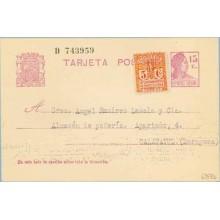 1933. Matrona.15 c. lila + 5 c. rojo. Escudo. serie 2ª (Barcelona Ed. 10) Barcelona a Calatayud (Laiz 69FBb) 36€