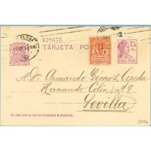 1933. Matrona. 15 c. lila + 5 c. rojo y amarillo. Escudo, serie 2ª (Barcelona Ed. 10). Barcelona a Sevilla. Mat. Barcelona (Laiz