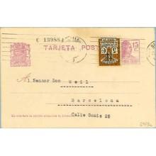 1935. Matrona.15 c. lila + 5 c. negro y castaño. Escudo. serie 3ª (Barcelona Ed. 11) Barcelona a Barcelona.Mat. Barcelona (Laiz