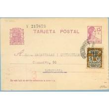 1934. Matrona.15 c. lila + 5 c. negro. Escudo, serie 3ª (Barcelona Ed. 11) Sabadell a Barcelona. Mat. Barcelona (Laiz 69FBc) 50€