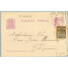 Matrona. 15 c. lila + 5 c. negro y naranja. Escudo, serie 3ª (Barcelona Ed. 11). Dirigida a Figueras (Laiz 69FBc) 50€
