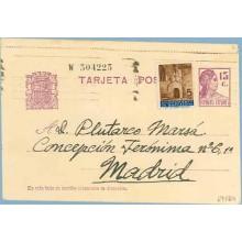 1936. Matrona.15 c. lila + 5 c. castaño. P. Gotica (Barcelona Ed. 13) Madrid (Laiz 69FBh) 36€