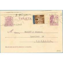 1936. Matrona.15 c. lila + 5 c. castaño. P. Gótica (Barcelona Ed.13) Barcelona a Tarrasa. Mat. Barcelona (Laiz 69FBh) 36€