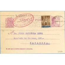 1936. Matrona. 15 c. lila + 5 c. castaño y azul. P. Gótica (Barna Ed. 13). Barcelona a Zaragoza. Mat. Barcelona (Laiz 69FBh) 36€