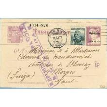 1937. Matrona. 25 c. sobre 15 c. lila + 15 c.gris. C. Arenal (Ed. 683) Barcelona a Morges, Suiza. Marca República Española Censu
