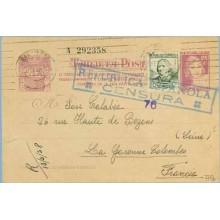 1938. Matrona. 25 c. lila + 15 c. gris. C. Arenal (Ed. 733) Seis cifras. Barcelona a Francia. Mat. Barcelona. Marca República Es