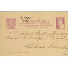 1938. Matrona. 25 c. lila sobre anteado. El Gobierno... Siete cifras. Madrid a Albatera, Alicante (Laiz 77n) 60€