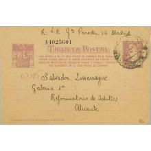 1938. Matrona. 25 c. lila sobre anteado. Una Cartilla....Siete cifras. Madrid a Alicante. Mat. Madrid (Laiz 78n) 60€