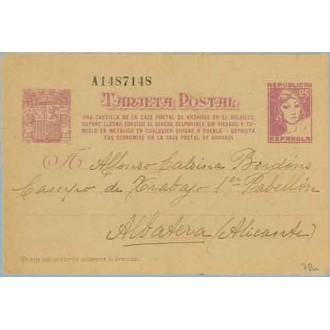 1938. Matrona. 25 c. lila sobre anteado.Una Cartilla... Siete cifras. Madrid a Albatera, Alicante (Laiz 78n) 60€