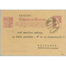 1938. Matrona. 25 c. lila sobre anteado. Una Cartilla... Siete cifras. Madrid a Alicante. Mat. Madrid (Laiz 78n) 60€