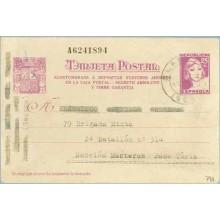 1938. Matrona. 25 c. lila s.crema. Acostumbraos...Siete cifras. Blanes a Valencia (Laiz 79A) 54€