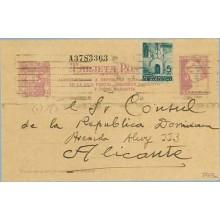 1938. Matrona. 25 c. lila + 5 c. azul. P. Gótica (Barcelona Ed. 19) Acostumbraos....Siete cifras. Dirigida a Alicante (Laiz 79FB