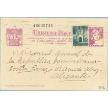1938. Matrona. 25 c. lila + 5 c. verde. P. Gótica (Barcelona Ed. 19). Acostumbraos... Siete cifras. Dirigida a Alicante (Laiz 79