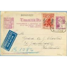 1938. Matrona. 25 c. lila + 3 p. sobre 45 c. + 5 p. rojo (Ed. 768). Acostumbraos....Siete cifras. Barcelona a Holanda. Mat. Cert