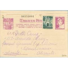 1938. Matrona. 25 c. lila + 5 c. verde. P. Gótica (Barna Ed. 19). ¡Ciudadanos!... Siete cifras. Diigida a Alicante (Laiz 80FBb)