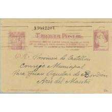1938. Matrona. 25 c. lila s. anteado. Ciudadanos...Siete cifras. Barcelona a Ares del Maestre, Castellón (Laiz 80n) 60€