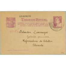 1938. Matrona. 25 c. lila s. anteado. Ciudadanos!...Siete cifras. Madrid a Alicante. Mat. Madrid (Laiz 80n) 60€