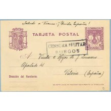 1938. R. Católicos.15 c. violeta. Villamar, Burgos a Vitoria. Marca Censura Militar Burgos (Laiz 81) 24€