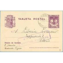 1938. R. Católicos.15 c. violeta. Vergara, Guipuzcoa a Vitoria. Mat. Vergara. Marca Censura Militar Vergara (Laiz 81) 24€