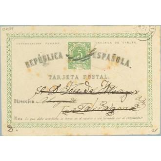 1874. 5 c. verde.Tarjeta de vuelta. Mat. Parrilla en negro (Laiz 2v) 70€